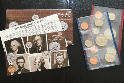 1985 United States Mint Uncirculated D & P Coin Set w/ Original Envelope