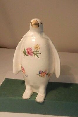 Plichta (Bovey Tracey) Large  hand decorated Penguin in unusual flowerdesign
