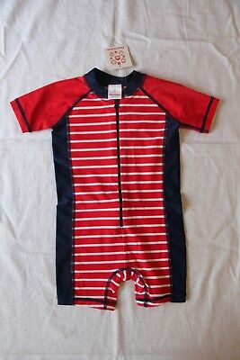 NWT Hanna Andersson Swimmy Rash Guard Baby Swim Suit Red Navy Striped 80 18-24 M