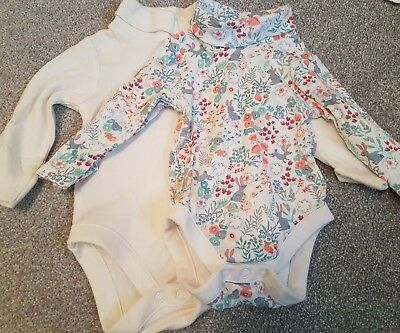 2 x 0-3 Months M&S Bunny Print Baby Girl Long Sleeved Baby Grows EUC