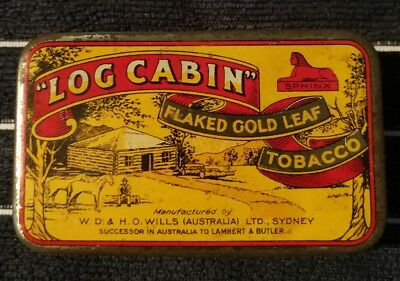 Log Cabin Tobacco Tin Fantastic Condition.