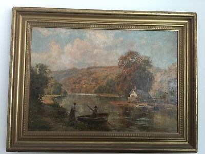 William A Moody Tranquil lake scene with figure and a boat oil on canvas vintage