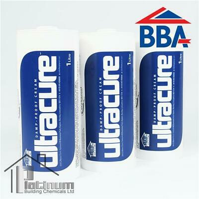 3 x 1L ULTRACURE DAMP PROOFING CREAM (BBA APPROVED) DPC INJECTION TREATMENT