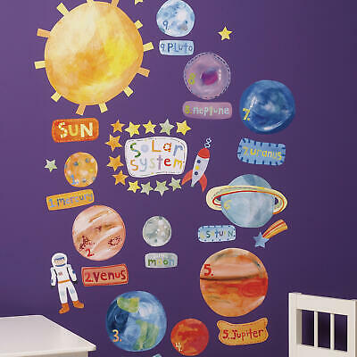 Wallies Solar System Vinyl Decals - décor for baby and child nursery room