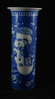 Chinese Blue & White Kangxi Prunus Sleeve Vase Four Character Mark 11.5""