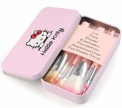 NEW 7pcs/set Pink Hello Kitty Makeup Brush Suit Cute Cartoon Metal Box New Style