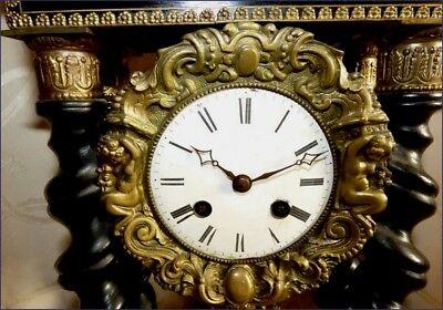 Superb Antique French CLOCK with columns and marquetry NAPOLEON III (Works)