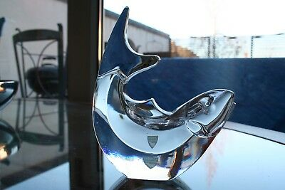 Orrefors Olle Alberius Glass Leaping Fish Sculpture
