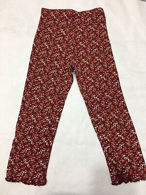 Nwt Sissy Vintage Gymboree Girls / Toddlers Footless Leggings Sz 3T. Red, Flower