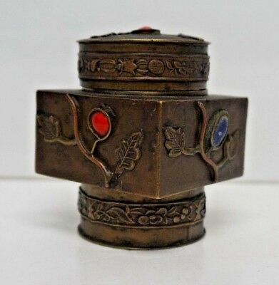 Vintage Chinese Brass Lidded Tea Caddy Canister w/ Hard Stones