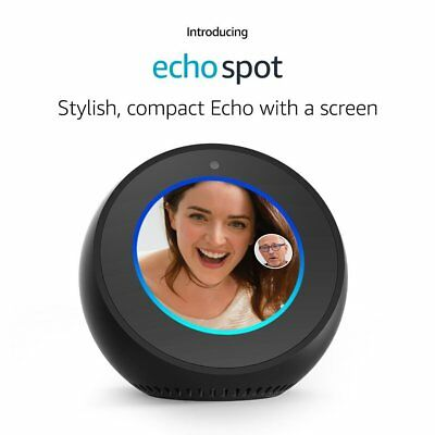 Echo Spot Black Connects to Alexa Hands Free Design to Fit Anywhere In Your Home