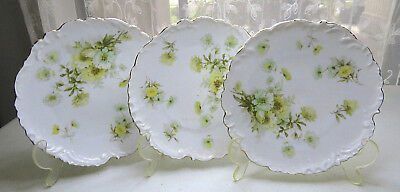 Lot of 3 Vintage Porcelain Bavarian China Germany Yellow Flowers Plate Saucer 7""