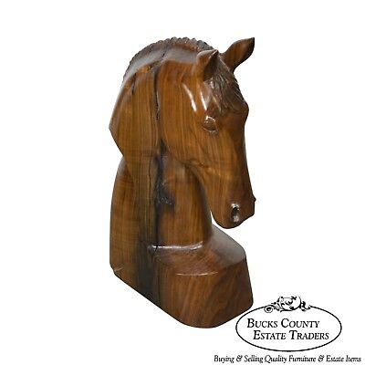 Vintage Hand Carved Wood Horse Head Sculpture SM Poleski