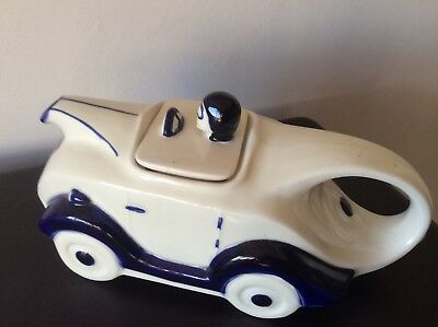 Blue And White Teapot Racing Car Shape Ht 42