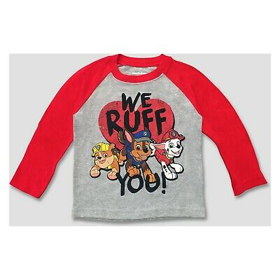 Toddler Boys Paw Patrol Valentines We Ruff You LS Shirt~Red/Grey~Chase/Rubble