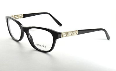 ▪️New Versace MOD 3212-B GB1 Black /& Gold Eyeglasses with Crystals  54mm w//Case