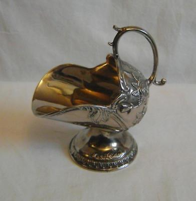 Vintage Chrome Plated Sugar Scuttle : Decorated with roses C.1930s / 50s