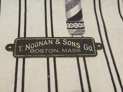 Vintage T. Noonan & Sons Boston Barber Supply Brass Nameplate