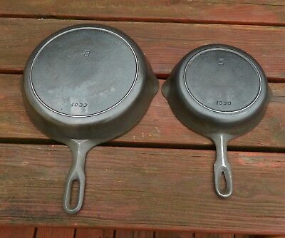 Pair of Griswold Iron Mountain Cast Iron Skillets #5 and #8 with Heat Rings