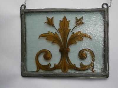 VINTAGE STAINED GLASS ARTS & CRAFTS SMALL RECTANGULAR HANGING PANEL–from window?