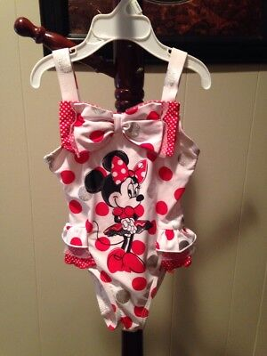 Disney Store Girl  Minnie Mouse Polka Dot 1-Pc. Swim Suit  Size 4