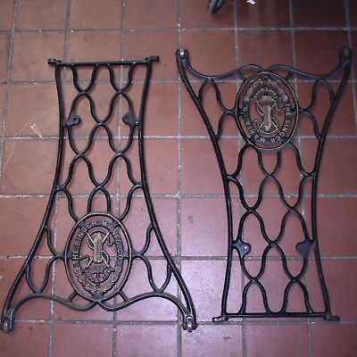 a23 Pair ANTIQUE VTG 1887 SINGER SEWING MACHINE CAST IRON METAL LEGS TABLE STAND