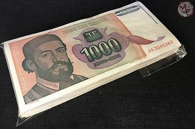 Yugoslavia 1.000 Dinars 1994- Pick- 140 100 PCS Bundle VF-XF