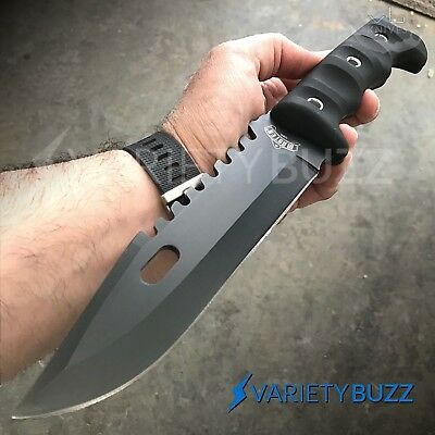 "12"" TACTICAL SURVIVAL Rambo Full Tang FIXED BLADE KNIFE Hunting w/ SHEATH Rubber"