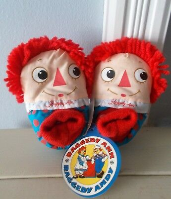 Raggedy Ann Baby Soft Cotton Slippers-Size M 1-1/2 - 2  Mint With Tag