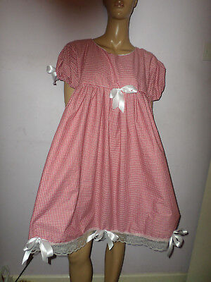 "Adult Baby Doll Sissy Red Gingham Dress White Lace Trim & Bows 44"" Chest"