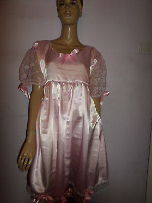 "Adult Baby Doll Sissy Pink Satin Dress White Lace  & Bows 46"" Chest Lace Sleeves"