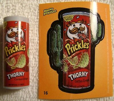 """1.75"""" Wacky Packages Prickles Eraser Sticker Card Topps 2011 Pringles"""