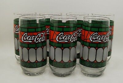 7 Vintage Coca-Cola Tiffany Style Stained Glass Drinking Glasses