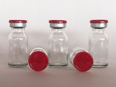 (5) Sealed Sterile 10mL Glass Vials FLIP TOP EZ OFF