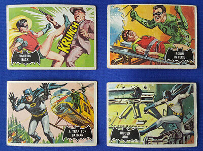1966 BATMAN Black/Red/Blue Bat Card Lot of 9 T.C.G. Good Condition Overall