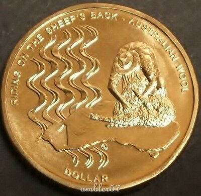 "**2011 scarcer Australian ""Riding on the Sheep's Back"" $1 coin UNC **"