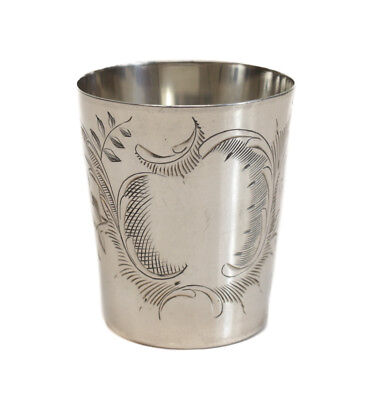 Russian .875 Silver Shot Vodka Glass Cup, First Kokoshnik mark, Moscow