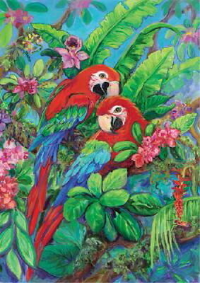 New Large Toland House Flag Beautiful Scarlet Macaws Parrots Macaw 28 X 40
