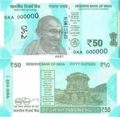 India, 50 Rupees Currency Notes 2017 P-New, UNC   Gandhi, Redesigned, New Colors