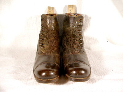 NOS Antique Edwardian Period Olive Green/Brown Button Up Ankle Boots EU40