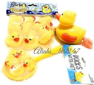 Yellow Bathtime Rubber Duck Duck With Net Large Swimmer Duck Bath Water Play 1+
