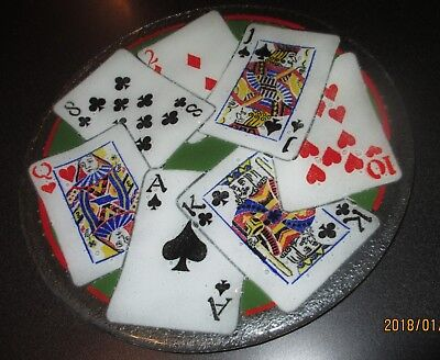 Peggy Karr Fused Glass Playing Cards Plate