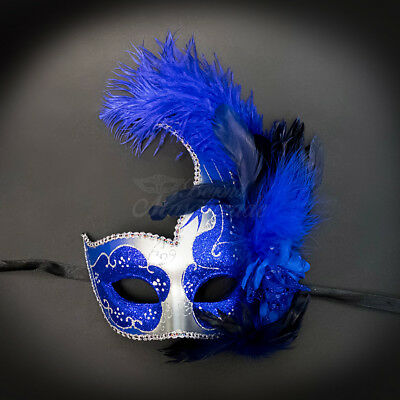 Ostrich Feather Venetian Masquerade Mask for Women M6131 Silver/Royal Blue