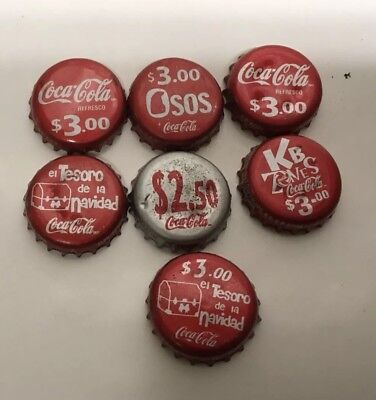 Coca Cola Soda Bottle Caps (7) Assorted Caps/crowns, from Mexico NR