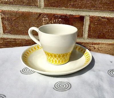Vintage Arabia Finland Yellow Geometric Pattern Demitasse Cup & Saucer