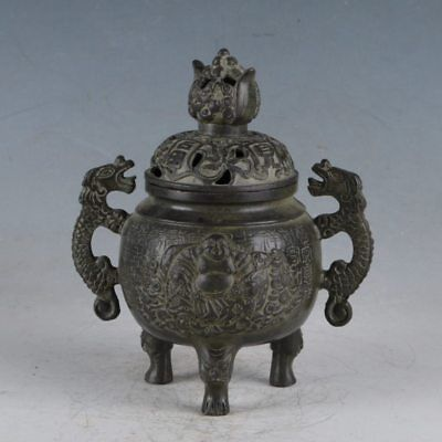 Chinese Rare Bronze Dragon&Buddha Incense Burner Made During The Qianlong Period