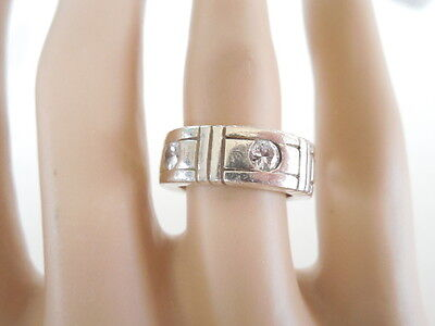 Vintage Sterling Silver Band Ring  With 6 Clear Stones  Sz 5