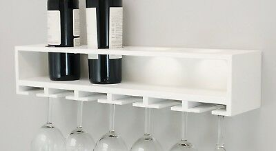 (White) - nexxt Claret Wine Bottle and Glass Holder Wall Shelf, 50cm by 11cm ,