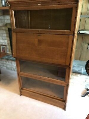 Antique Lundstrom Barrister With Desk Bookcase