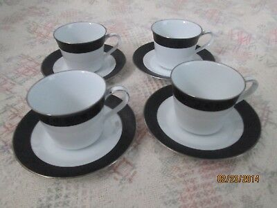 4 NORITAKE SHARON CUPS & SAUCERS, White with detailed black band